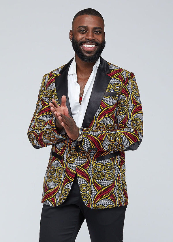 Jackets - Kasim Men's African Print Blazer (Red Yellow Vines)