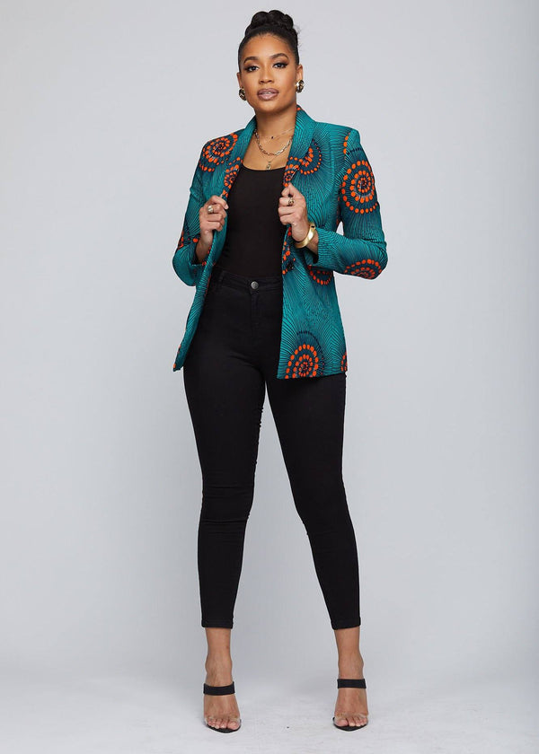 Jackets - Nubia African Print Stretch Blazer  (Turquoise Orange Swirls)