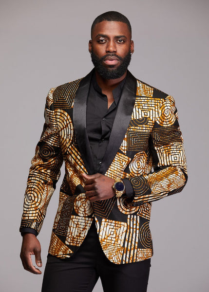 Jackets - Rammy Men's African Print Blazer (Black Brown Geometric)