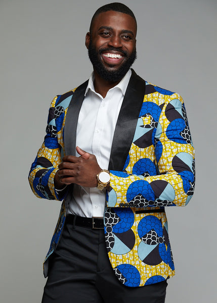 Jackets - Rammy Men's African Print Blazer (Blue Bubbles On Yellow)