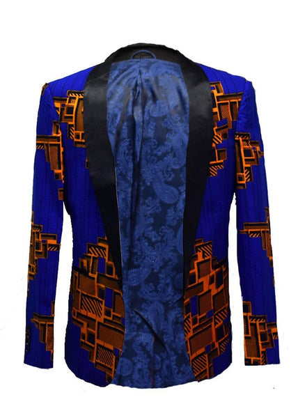 Jackets - Rammy Men's African Print Blazer (Blue/Orange)