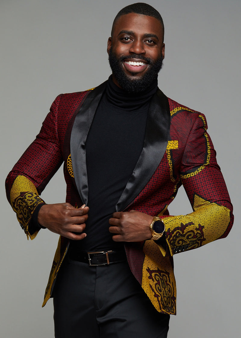 Jackets - Rammy Men's African Print Blazer (Burgundy/Gold/Black)