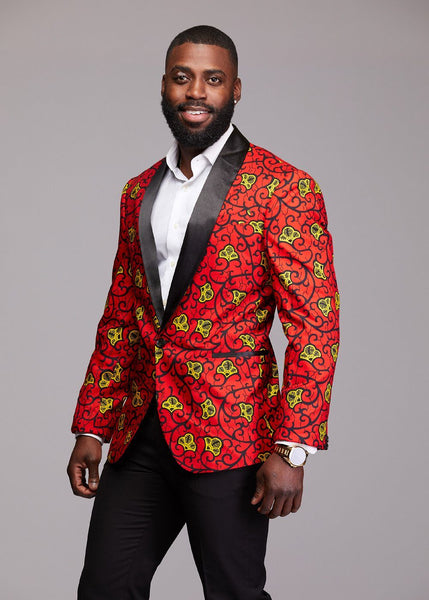 Jackets - Rammy Men's African Print Blazer (Red/Gold)