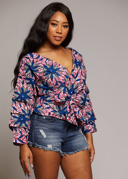 Jalah African Print Tiered Sleeve Wrap Top (Pink/Blue/White)