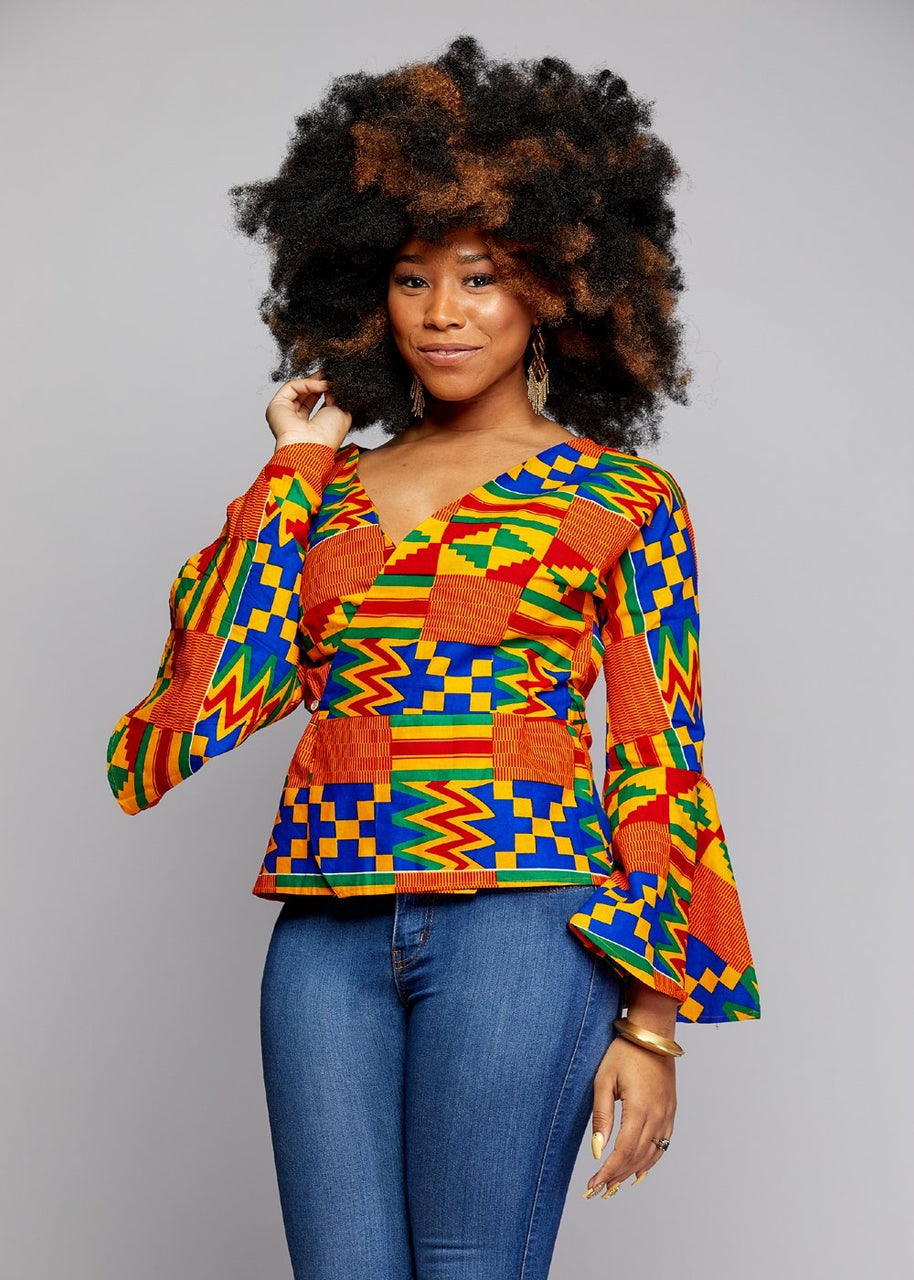 Jayde African Print Bell Sleeve Wrap Top (Orange/Blue Kente)