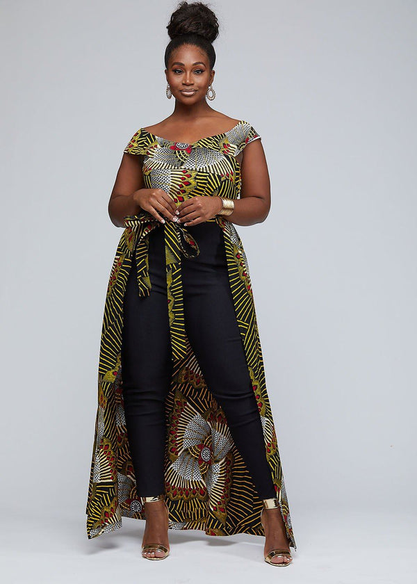 Jumpsuits - Afiya African Print Jumpsuit With Detachable Skirt (Yellow Red Fans)