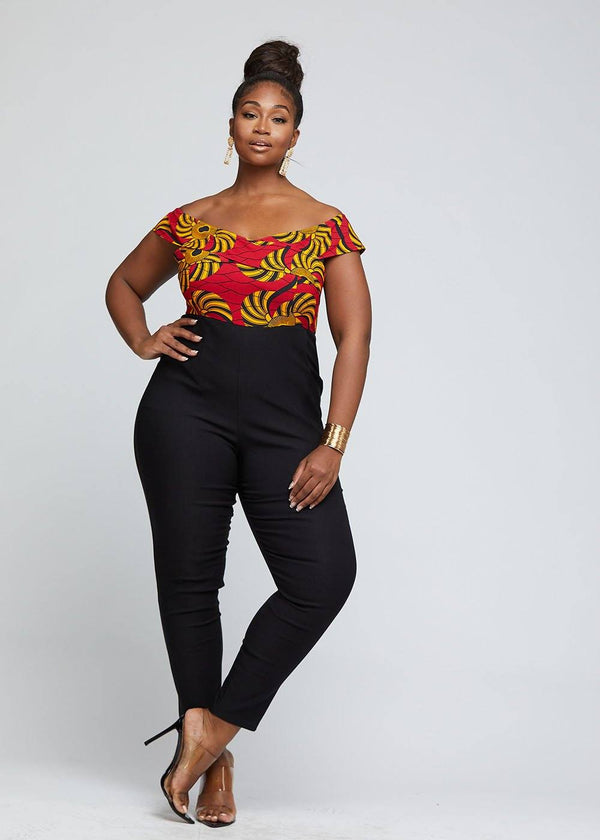 Afiya African Print Jumpsuit With Detachable Skirt (Yellow Red Swirls)