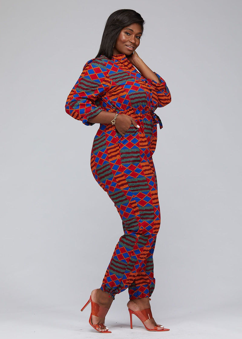 Jumpsuits - Eniola African Print Button-Up Jumpsuit (Blue Red Kente)