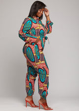 Jumpsuits - Eniola African Print Button-Up Jumpsuit (Orange Teal Ovals)