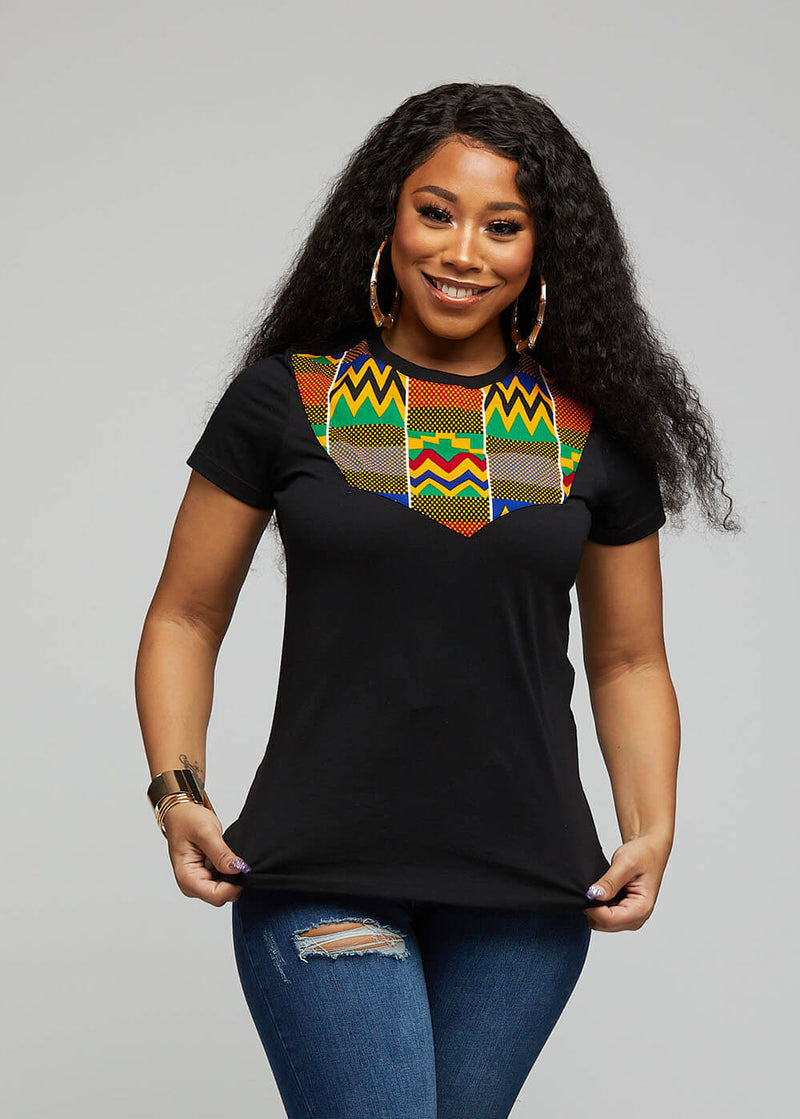 Jira African Print T-shirt ( Black/Green Yellow Kente)