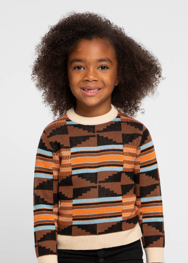 Oma Kid's African Print Sweater (Brown Orange Kente)