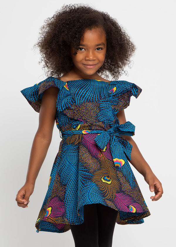 Labala African Print Girl's Butterfly Sleeve Dress (Blue Pink Peacock)