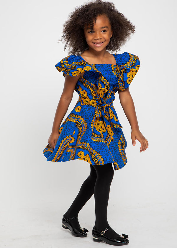 Labala African Print Girl's Butterfly Sleeve Dress (Gold Blue Motif)
