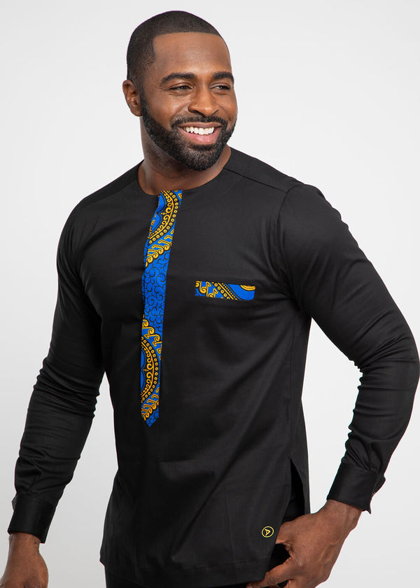 Lekan African Print Traditional Top (Black/Gold Blue Motif)