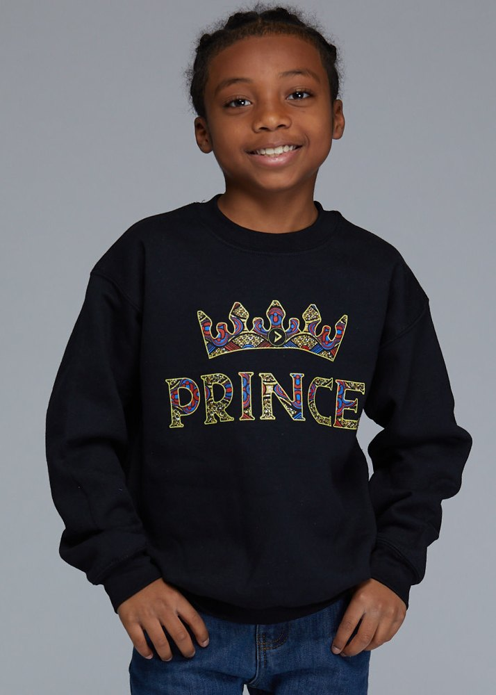 "Little Kalu Boy's African Print ""Prince"" Graphic Sweatshirt (Black)"