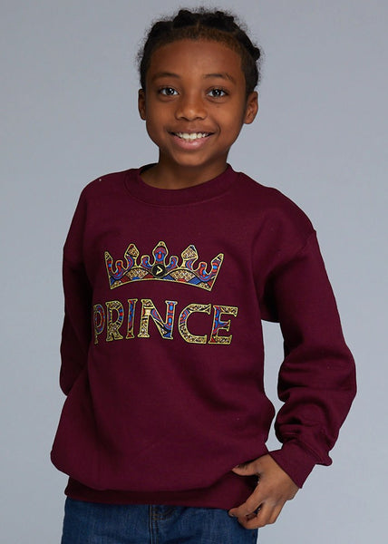 Little Kalu Boy's African Print Prince Graphic Sweatshirt (Maroon)