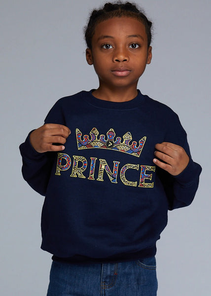 "Little Kalu Boy's African Print ""Prince"" Graphic Sweatshirt (Navy)"