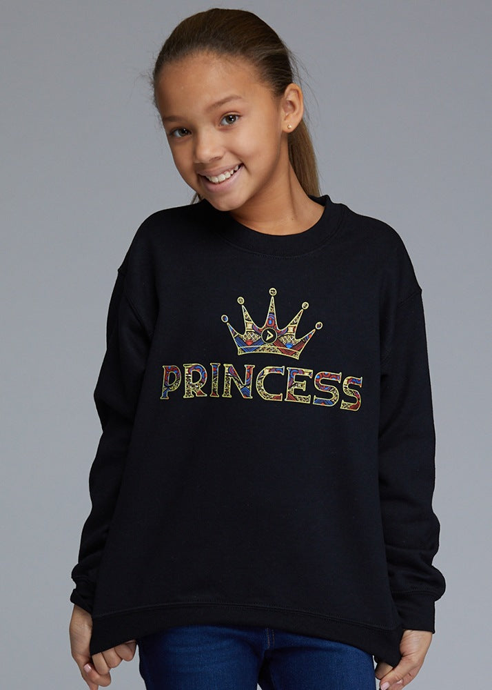 Little Kayin Girl's African Print Princess Graphic Sweatshirt (Black)