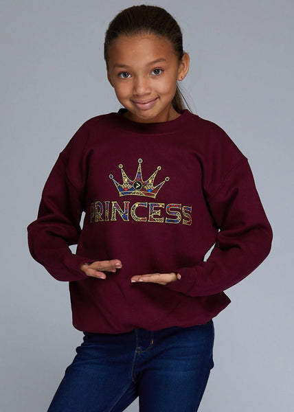 "Little Kayin Girl's African Print ""Princess"" Graphic Sweatshirt (Maroon)"