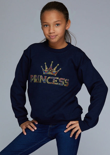 "Little Kayin Girl's African Print ""Princess"" Graphic Sweatshirt (Navy)"