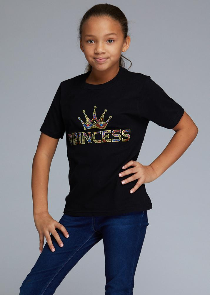Little Ohema Girl's African Print Princess Graphic T-Shirt (Black)
