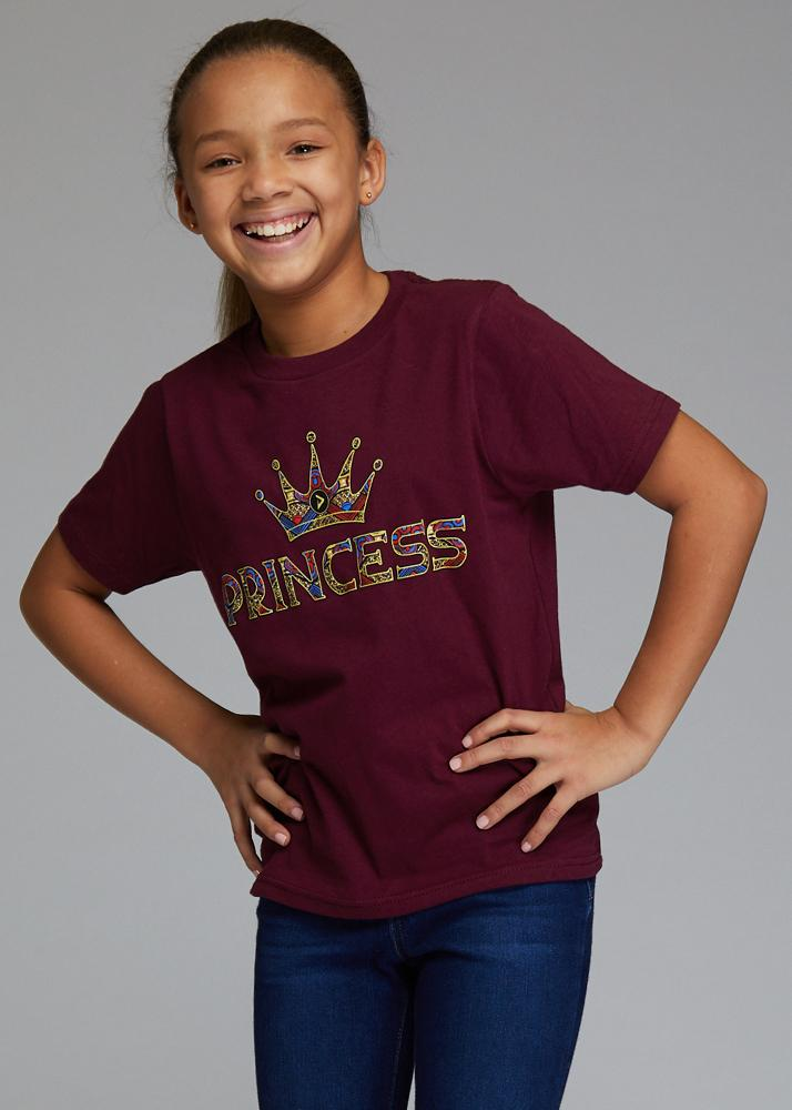 Little Ohema Girl's African Print Princess Graphic T-Shirt (Maroon)