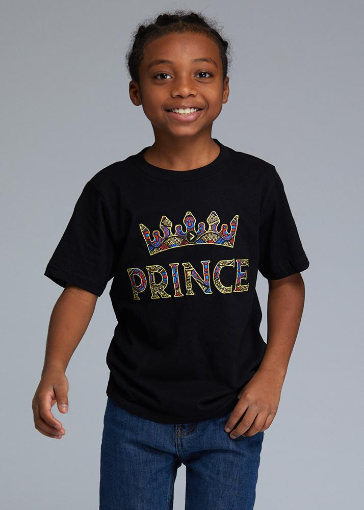 "Little Ohene Boy's African Print ""Prince"" Graphic T-Shirt (Black)"
