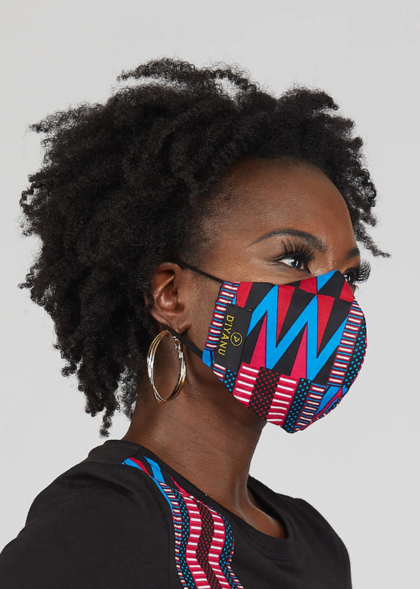 Dabo African Print 2 Layer Reusable Face Mask (Magenta Blue Kente)