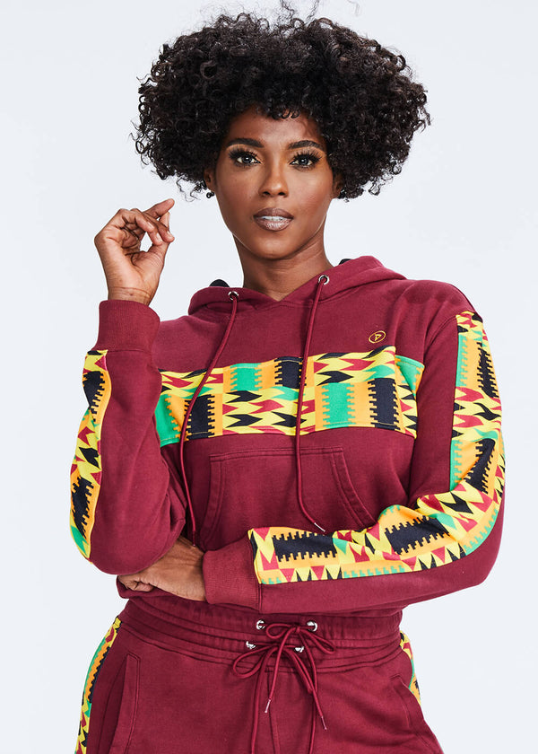 Sare African Print Color Blocked Crop Hoodie (Maroon/ Gold Maroon Kente)