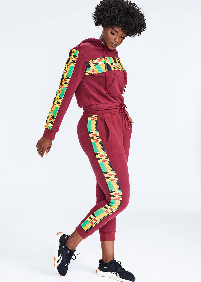 Ilera African Print Color Blocked Jogger (Maroon/Gold Maroon Kente)