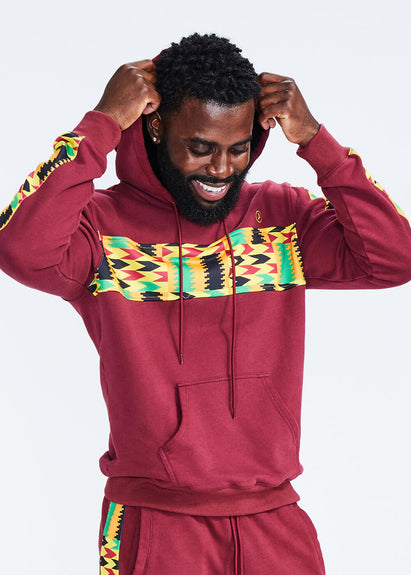 Ibesi African Print Unisex Color Blocked Hoodie (Maroon/Gold Maroon Kente - Clearance