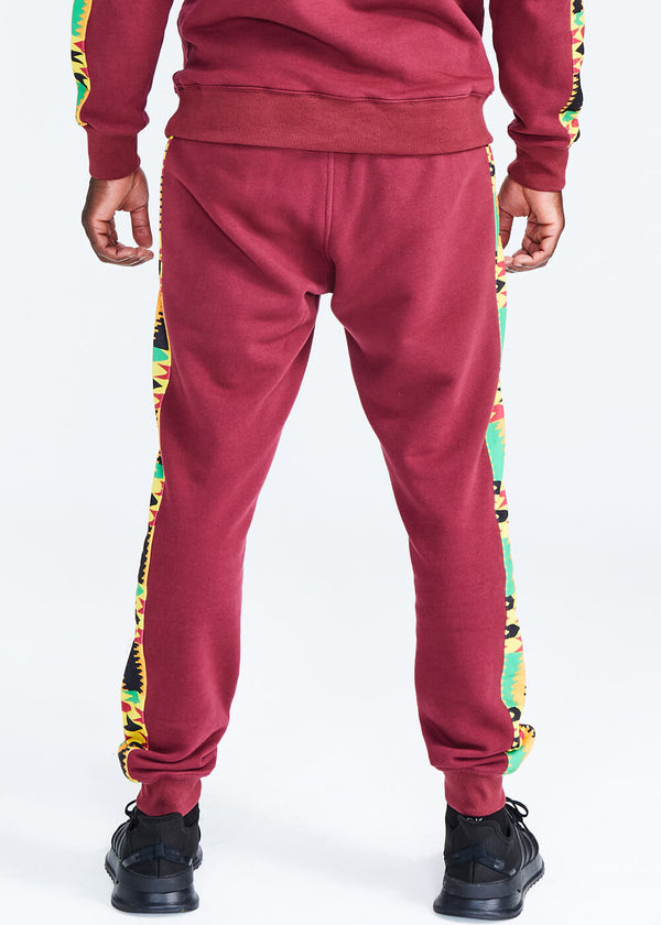 Oloyo African Print Men's Color Blocked Jogger (Maroon/Gold Maroon Kente) - Clearance
