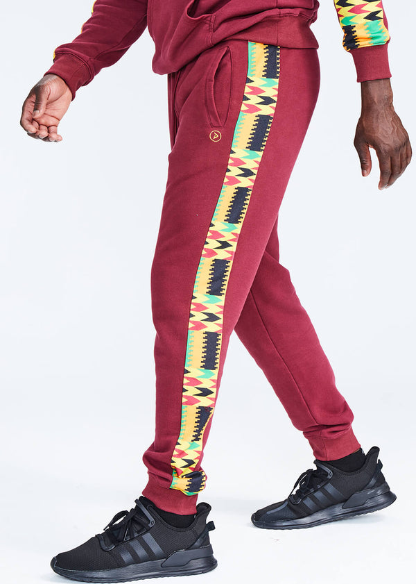 Oloyo African Print Men's Color Blocked Jogger (Maroon/Gold Maroon Kente)
