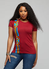 Kasi African Print Short Sleeve T-Shirt (Marron/Sky Blue Yellow Kente)