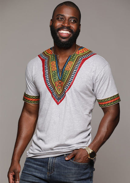 Men's African Print Dashiki T-Shirt (Grey)