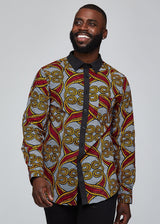 Men's Bottoms - Wazi African Print Men's Button-Up (Red Yellow Vines)