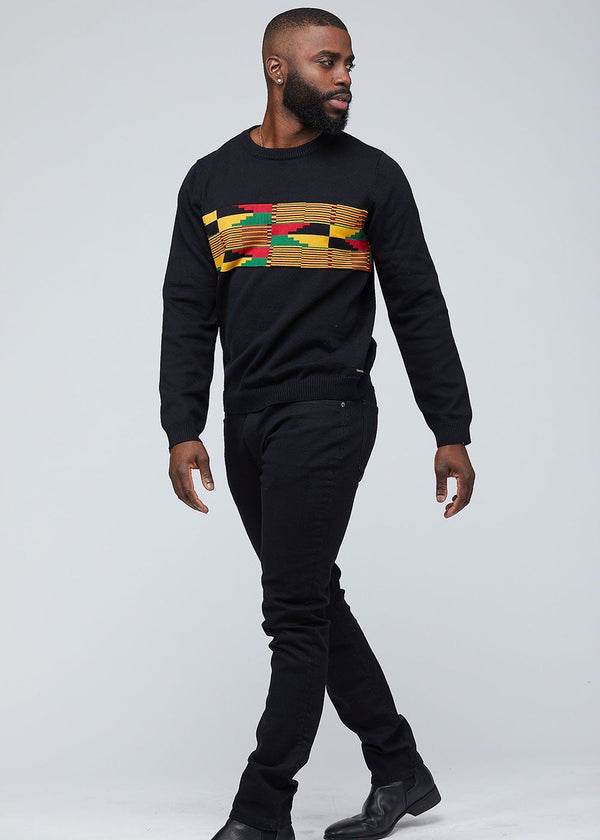 Abanu African Print Kente Men's Sweater (Yellow Red Kente) - Clearance