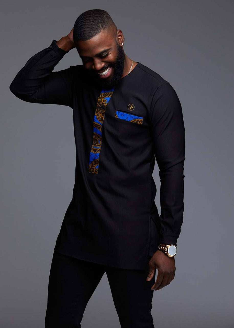 Men's Tops - Bakari Men's African Print Long Sleeve Trad Shirt (Blue/Gold Leaves)