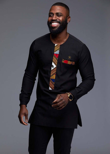 Men's Tops - Bakari Men's African Print Long Sleeve Trad Shirt (Gold/White Diamonds)