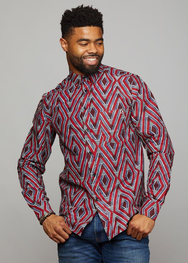 Men's Tops - Dajan African Print Traditional Button-up  (Maroon Grey Chevron)