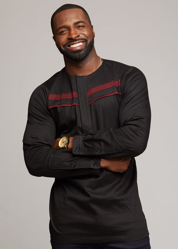 Men's Tops - Emeka Men's Long Sleeve Traditional Shirt (Black)