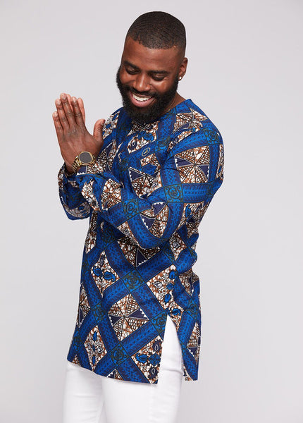 Jafari Men S African Print Long Sleeve Traditional Shirt