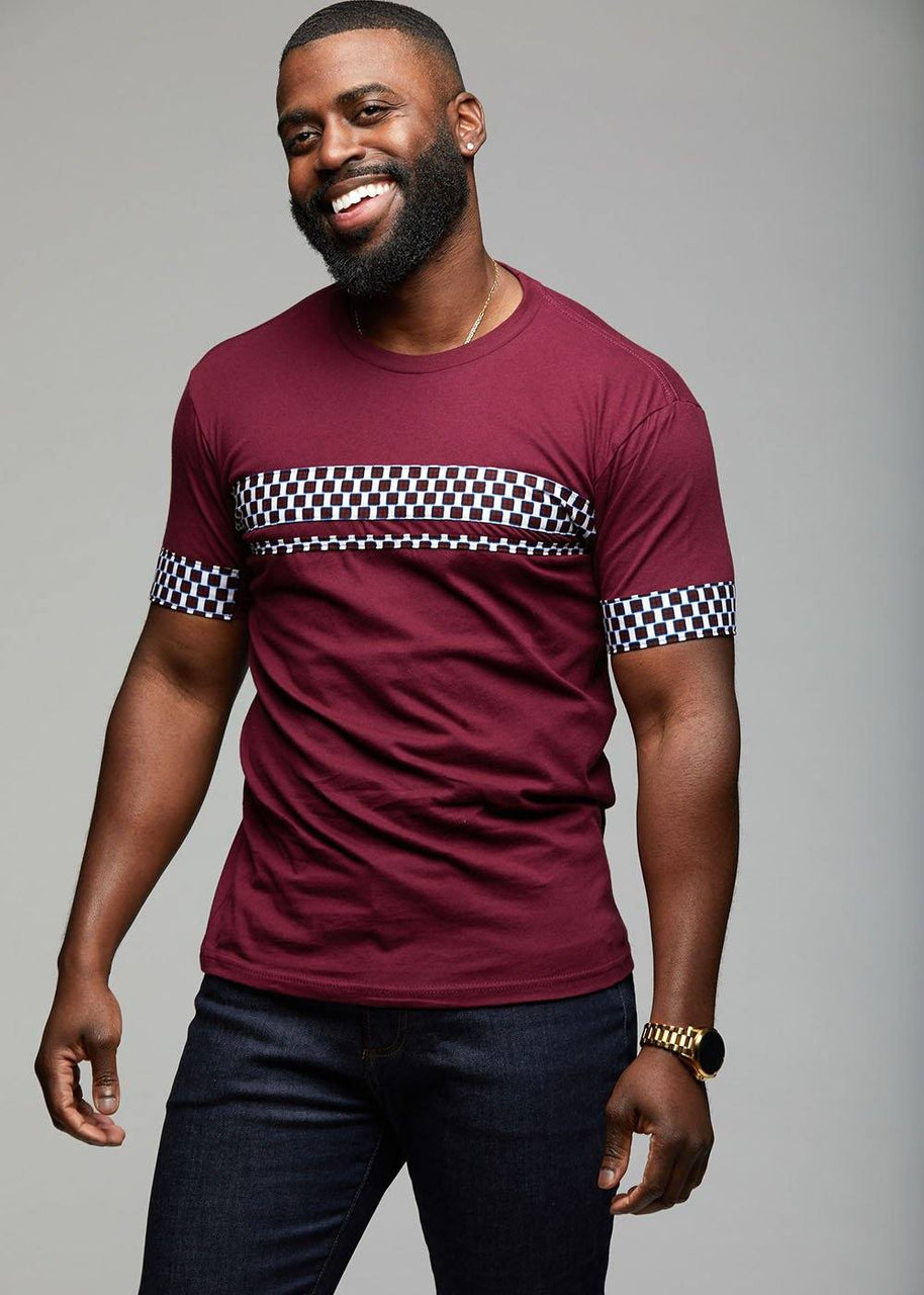 Men's Tops - Jaheem African Print Short Sleeve T-shirt (Blue White Checkers)