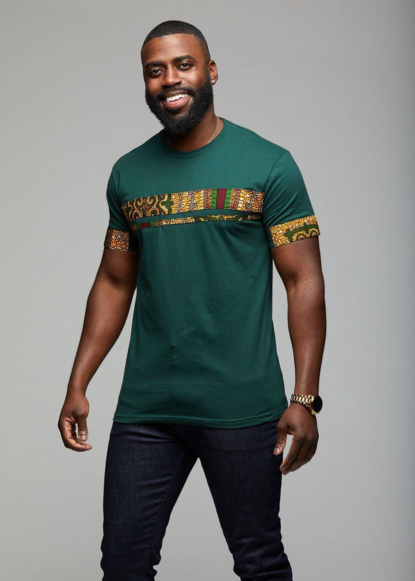 Men's Tops - Jaheem African Print Short Sleeve T-shirt (Green Tortoise Back)