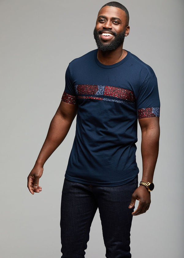 Men's Tops - Jaheem African Print Short Sleeve T-shirt (Red/Blue Patchwork)