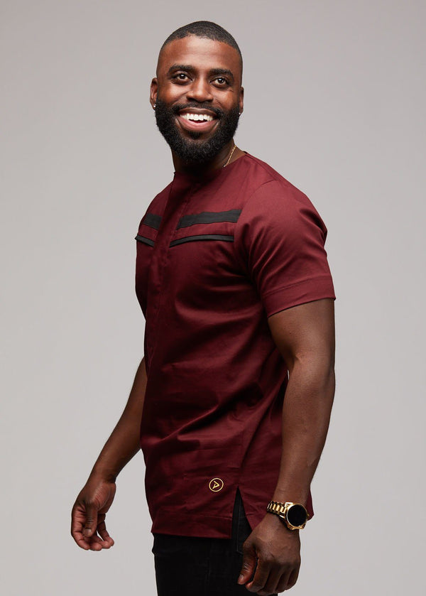 Men's Tops - Jide Men's Short Sleeve Traditional Shirt (Maroon)