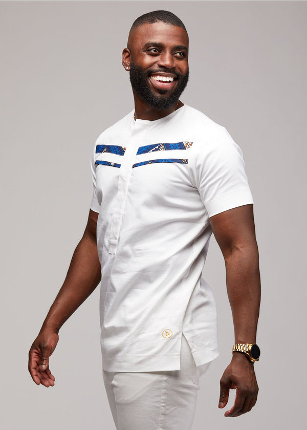 Men's Tops - Jide Men's Short Sleeve Traditional Shirt (White)
