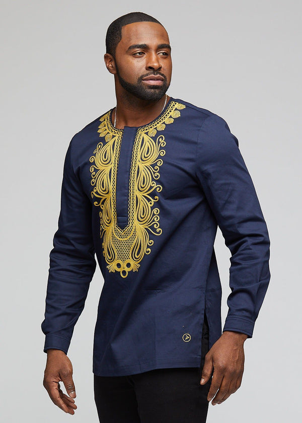 Men's Tops - Kamaru Men's African Print Traditional Dress Shirt (Navy)