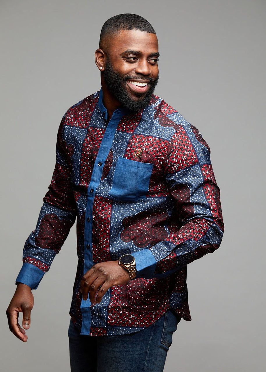 Men's Tops - Kano Button-Up African Print Long Sleeve Denim Mandarin Shirt (Red Blue Patchwork)