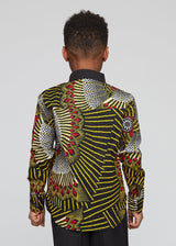 Men's Tops - Kellan African Print Boys Button-Up (Yellow Red Fans)